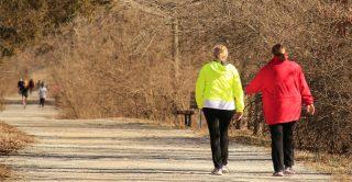 overweight women walk through park