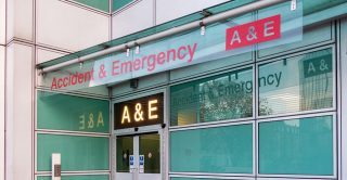 Entrance to a hospital A&E department