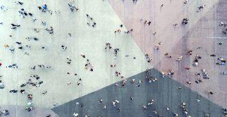 Bird's eye view of people walking