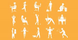illustrations of people doing physical activities such as walking a dog, playing golf, and lifting weights