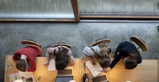 Overhead view of students studying